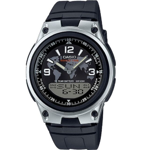 Casio AW-80-1A2V Black Silver-Tone Digital Analog Sports Watch with Retail Box