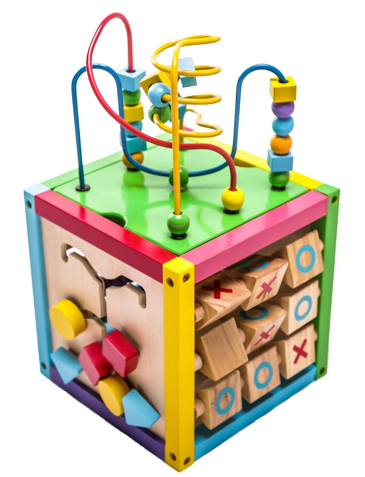 Wooden Learning 6 In1 Play Cube Activity Center 8 Inches Toys Kids