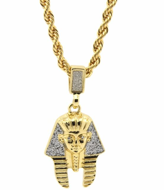 Mens gold plated egyptian pharaoh hip hop pendant 24 rope chain mens gold plated egyptian pharaoh hip hop pendant 24 rope chain necklace d441 mozeypictures Images