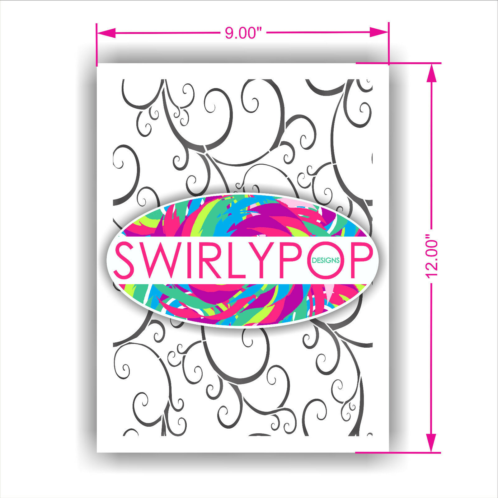 Swirlypop scroll wall stencil craft template 9 x 12 airbrush brand new lowest price amipublicfo Image collections