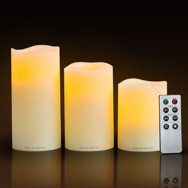 Set of 3 LED Scented Mood Candles Remote Control Flameless Vanilla Scented Light