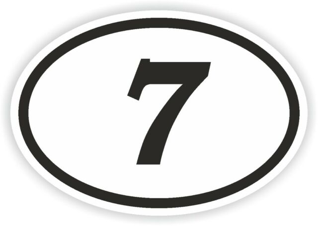 7 seven sept number oval sticker bumper decal car motocross motorcycle aufkleber