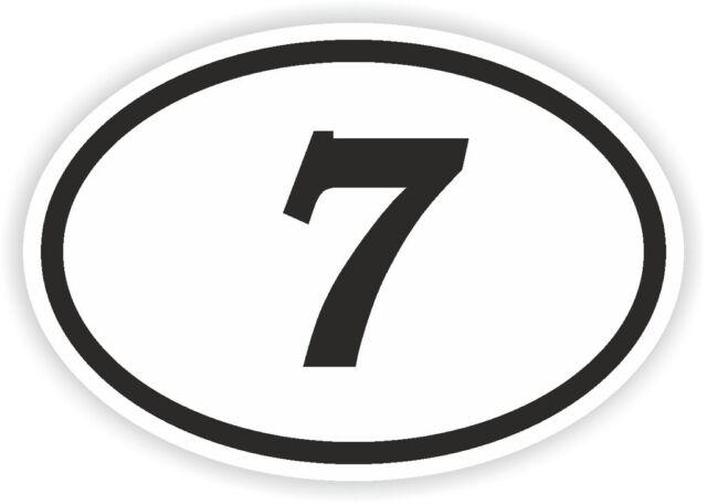 7 seven sept number oval sticker bumper decal car motocross motorcycle aufkleber