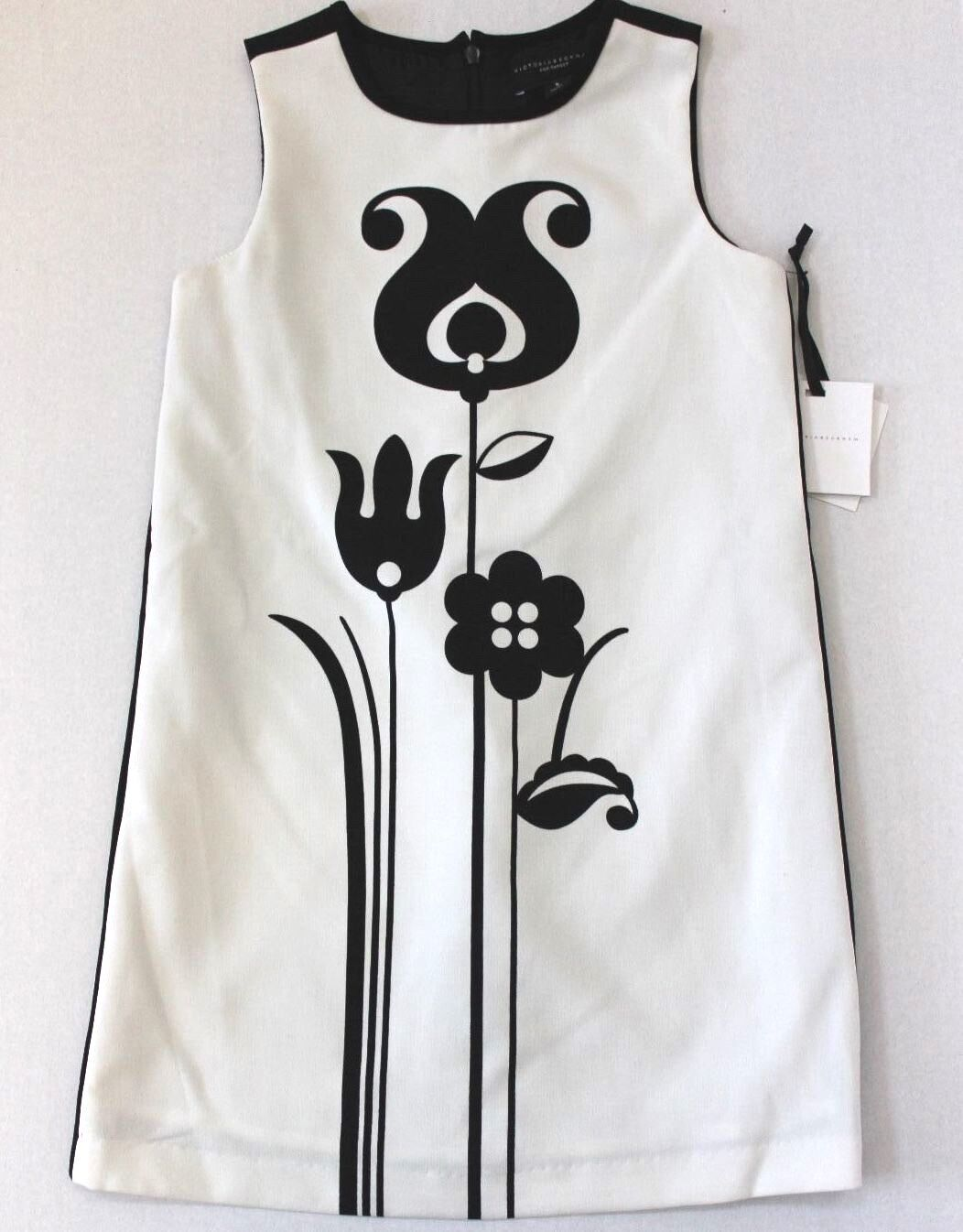 Victoria Beckham For Target Girls Black White Mod Shift Tulip Dress