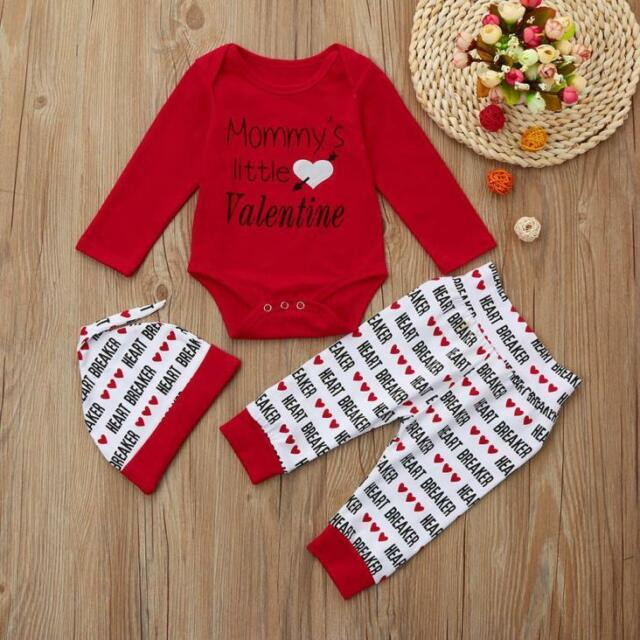 Newborn Infant Baby Boy Letter Romper +Pants+Hat Valentineu0027s Day Outfits Set