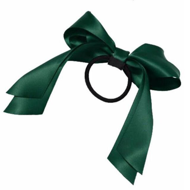 1pc S Tiara Satin Ribbon Bow Hair Band Ties Rope Scrunchie Ponytail Holder Dark Green Ebay
