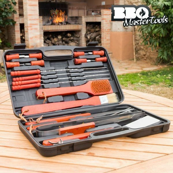 (18 Pcs) BBQ Master Tools Barbecue Set Tool Kit Case Stainless Steel Utensils