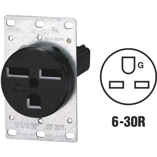 Leviton 30 Amp 2-pole Flush Mount Shallow Single Outlet Black R10 ...