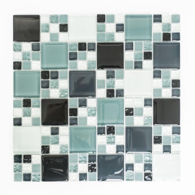 Mosaikmatte Mosaikfliese Kombination Crystal mix grau/schwarz/grau matt XCM 8565