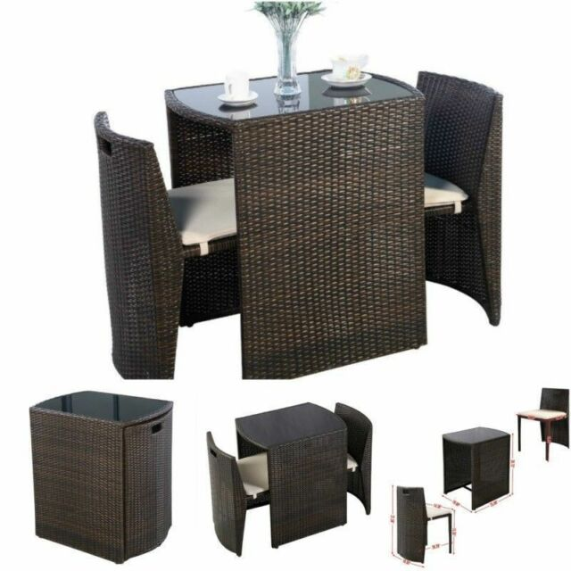 Bistro Table and Chairs With Glass Top Patio Indoor Outdoor Set ...