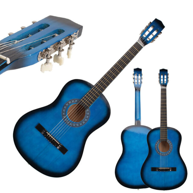 New Beginner Willow 38 Plywood 19 Frets Acoustic Guitar Blue For Music Lover
