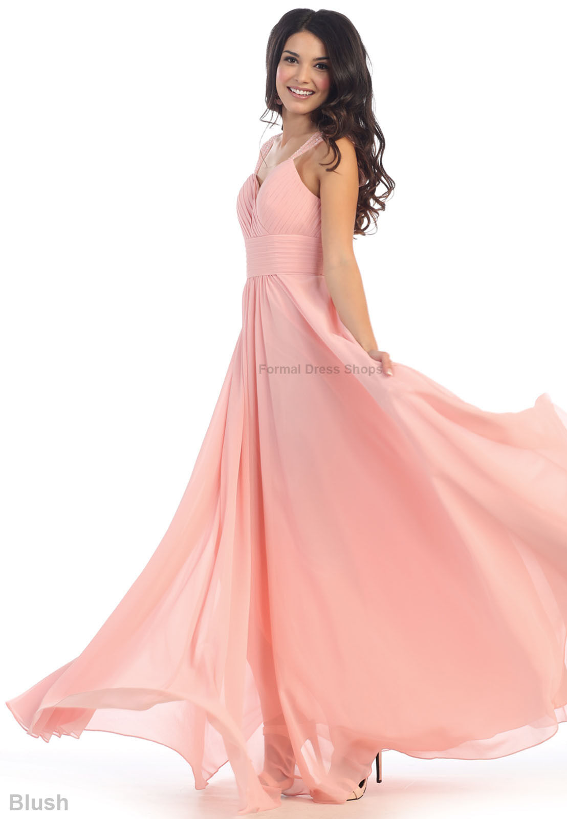 Empire Waist Bridesmaids Evening Gown Prom Flowy Formal Long Dress ...