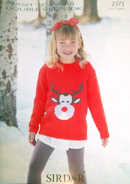 Vintage Knitting Pattern Sirdar 2373 Dk Childs Reindeer Motif
