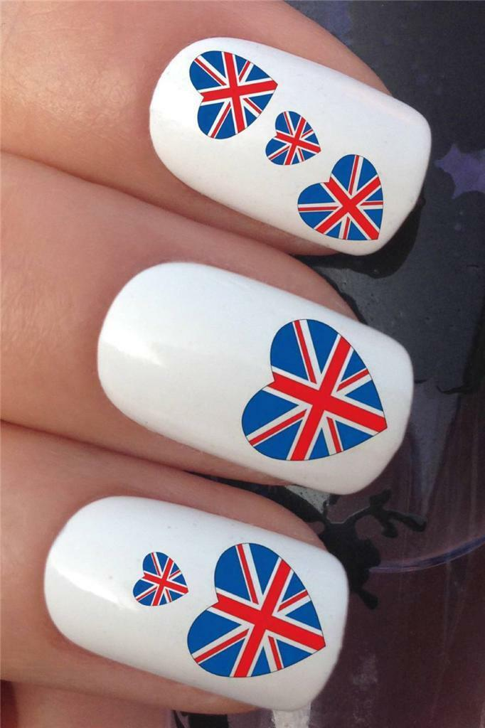 Water Nail Transfers Union Jack British Flag Hearts Uk Decals