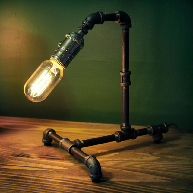 Vintage Retro Style Steel Pipe Desk Table Lamp Light With Edison Bulb