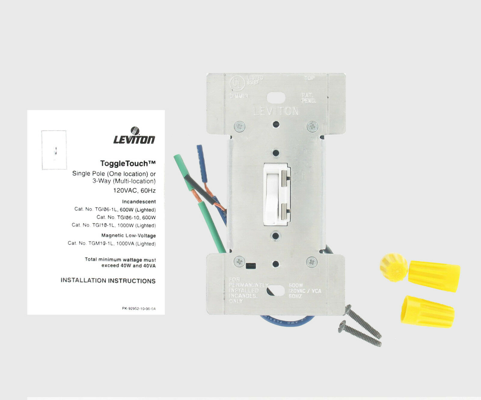 Leviton white toggle touch dimmer 600w incandescent 120v tgi06 10w leviton white toggle touch dimmer 600w incandescent 120v tgi06 10w ebay sciox Images