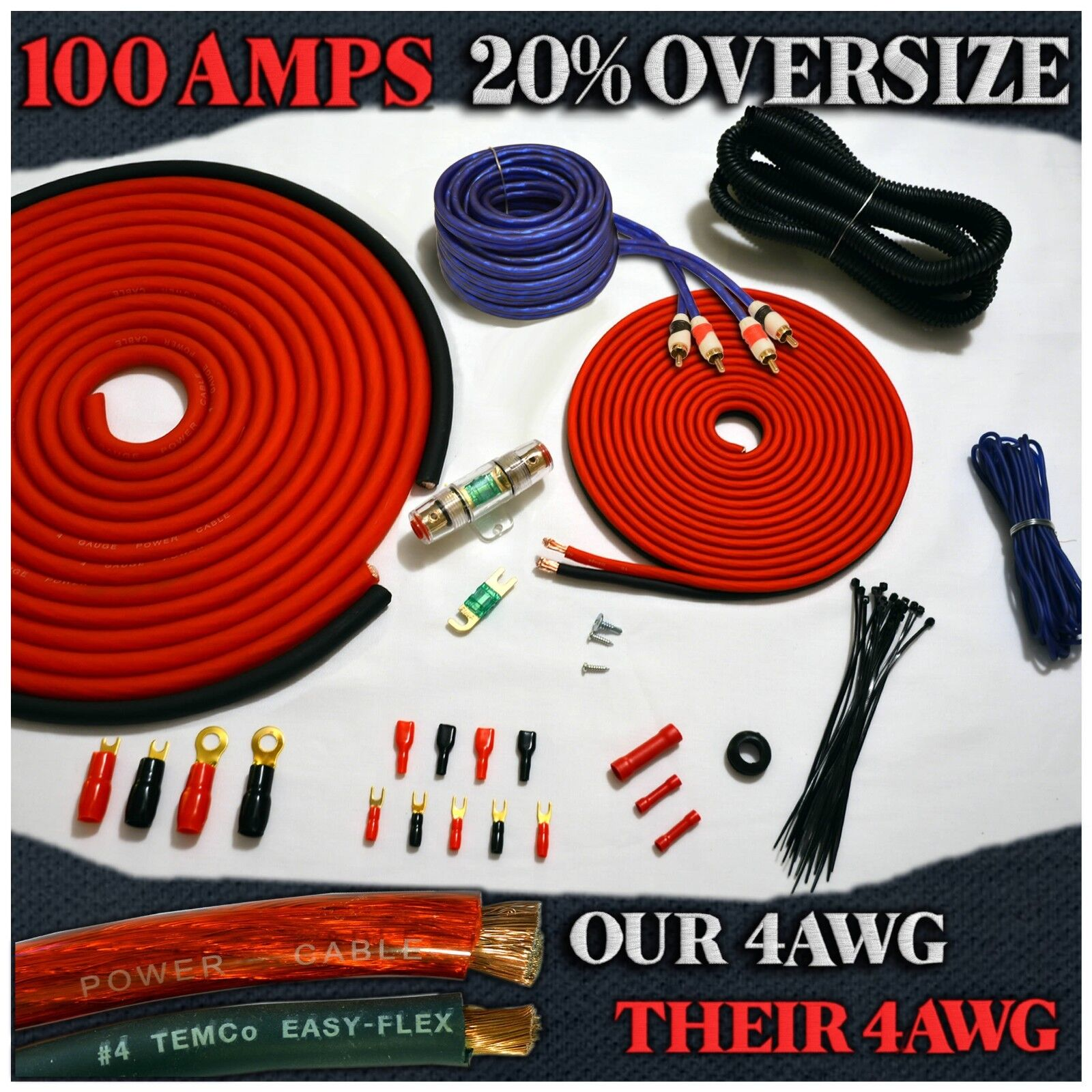 4 Gauge Amp Kit Complete Power Cable and Wiring for Car Amplifier ...