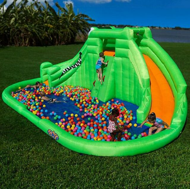 Outdoor Backyard Inflatable Water Park Kids Wet Pool Slide Bounce Fun House