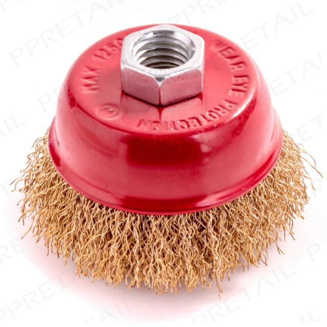 65mm CRIMP BRASS WIRE CUP BRUSH RUST/PAINT REMOVAL M14 Thread Wheel Rotary Tool