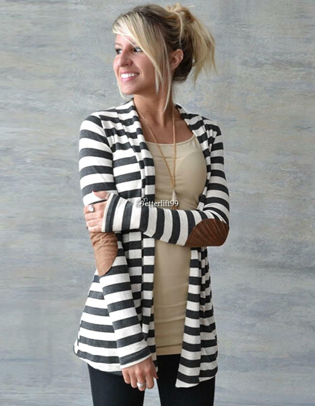 Womens Striped Long Sleeve Cardigan Loose Sweater Outwear Jacket ...