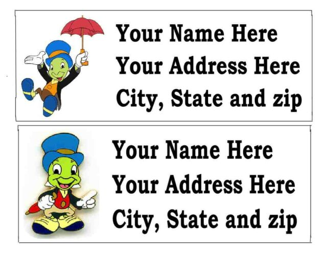 120 jiminy cricket disney return address labels ebay