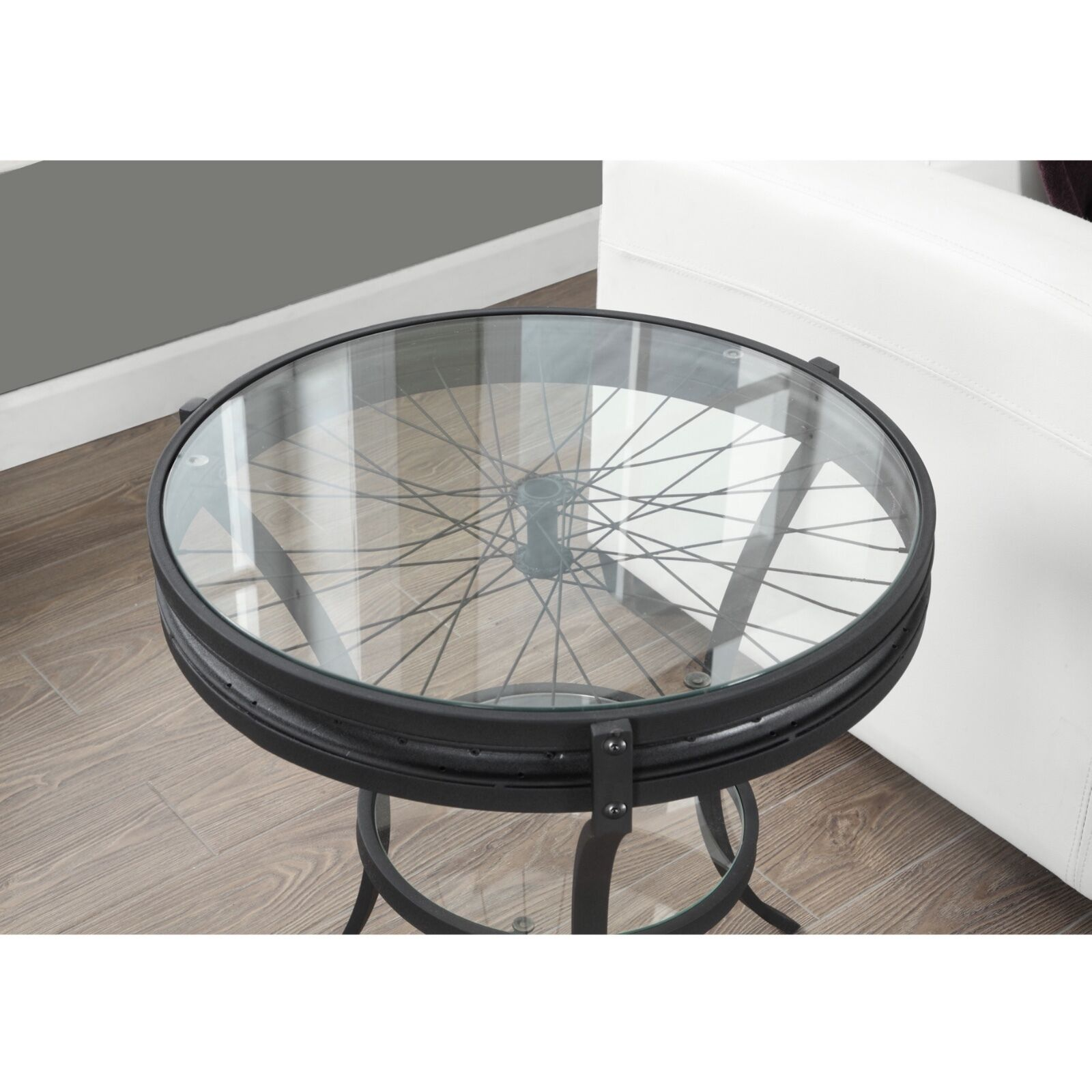 Vintage Country Styled Accent End Table Industrial Round Glass Top