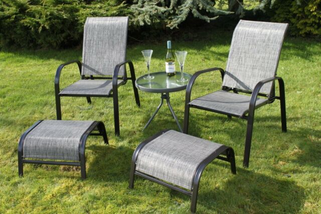 Set Of 2 Reclining Garden Chairs With 2 Foot Stools And A