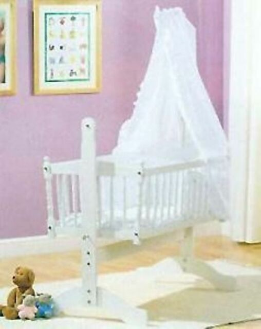 White Broderie Anglais 3piece Swinging Crib Bedding Set eBay & Baby swinging crib