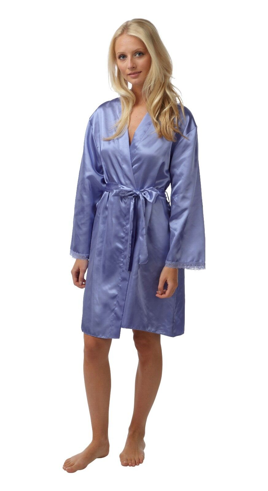 Ladies Lilac Satin Silky Dressing Gown Robe Wrap Lace Short Length 8 ...