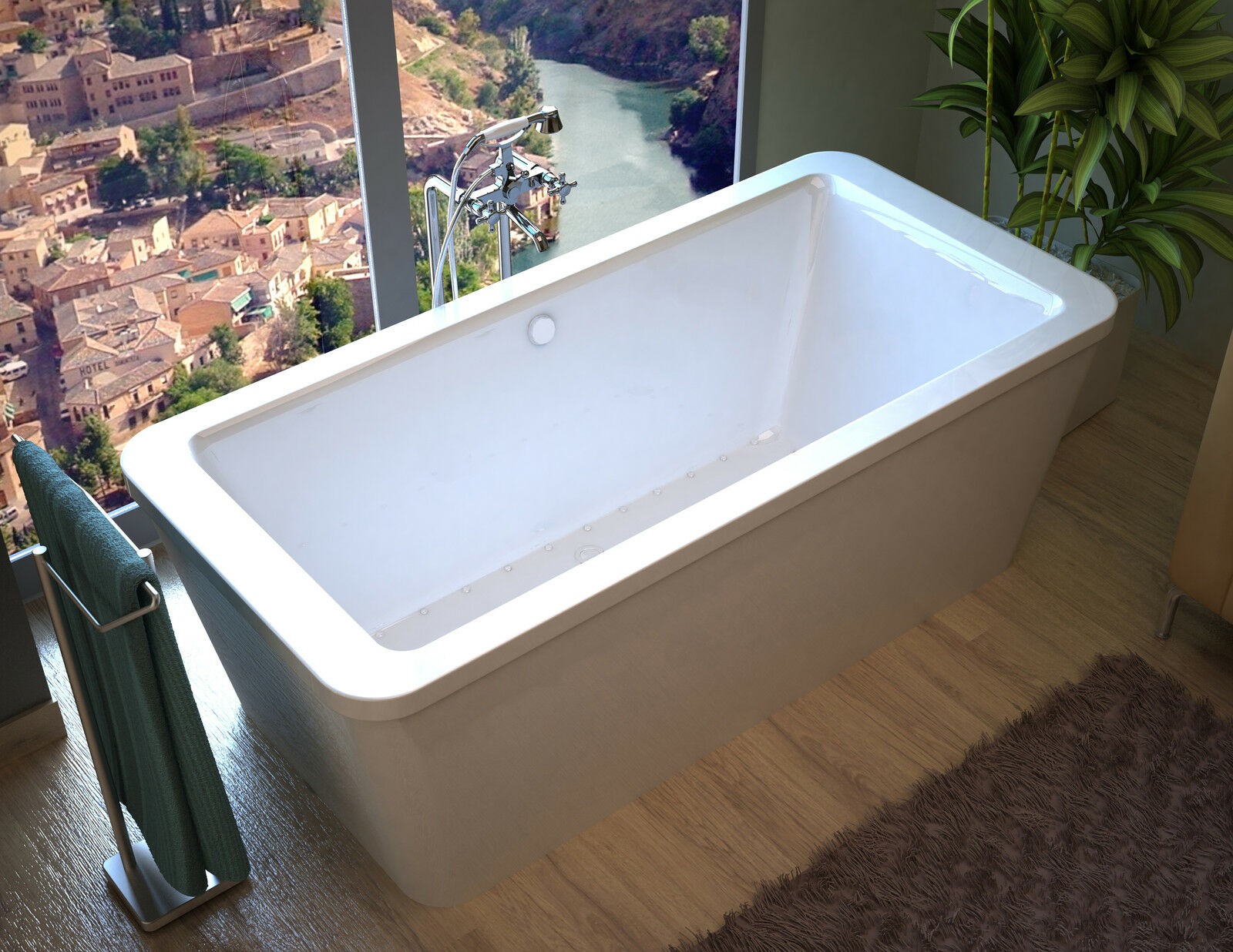 Lautrec 34 X 67 Rectangular Freestanding Air Jetted Bathtub With ...