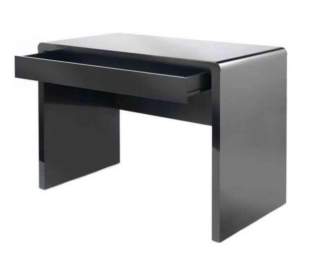 Black Computer Desk Wooden Gloss Home Office Table