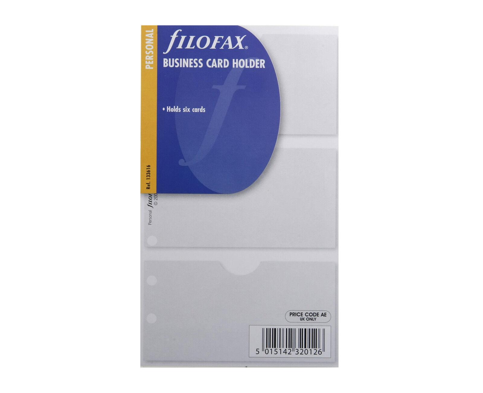 Filofax Personal Size Organiser Business Card Holder Insert Refill ...