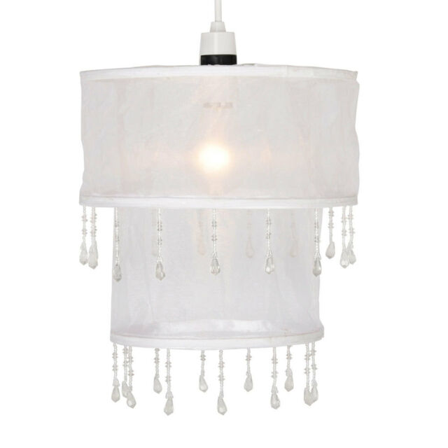 Modern White Voile Round 2 Tier Beaded Ceiling Light Shade Pendant Lampshade NEW