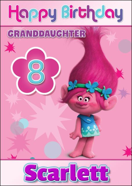 Trolls Movie Personalised Birthday Card Name Age Relative – Customised Birthday Cards