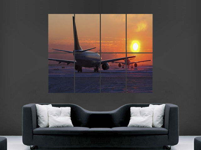 aeroplane airport jet runway sunset art wall poster picture print large huge