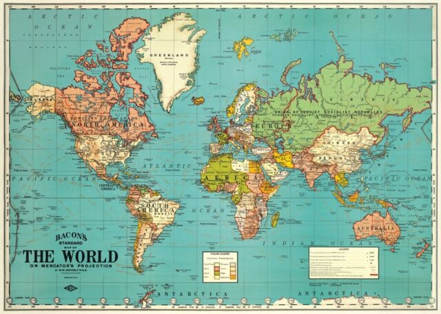 Cavallini co world map decorative wrapping paper 20x28 ebay world map vintage style poster cavallini co 20 x 28 wrap gumiabroncs Gallery