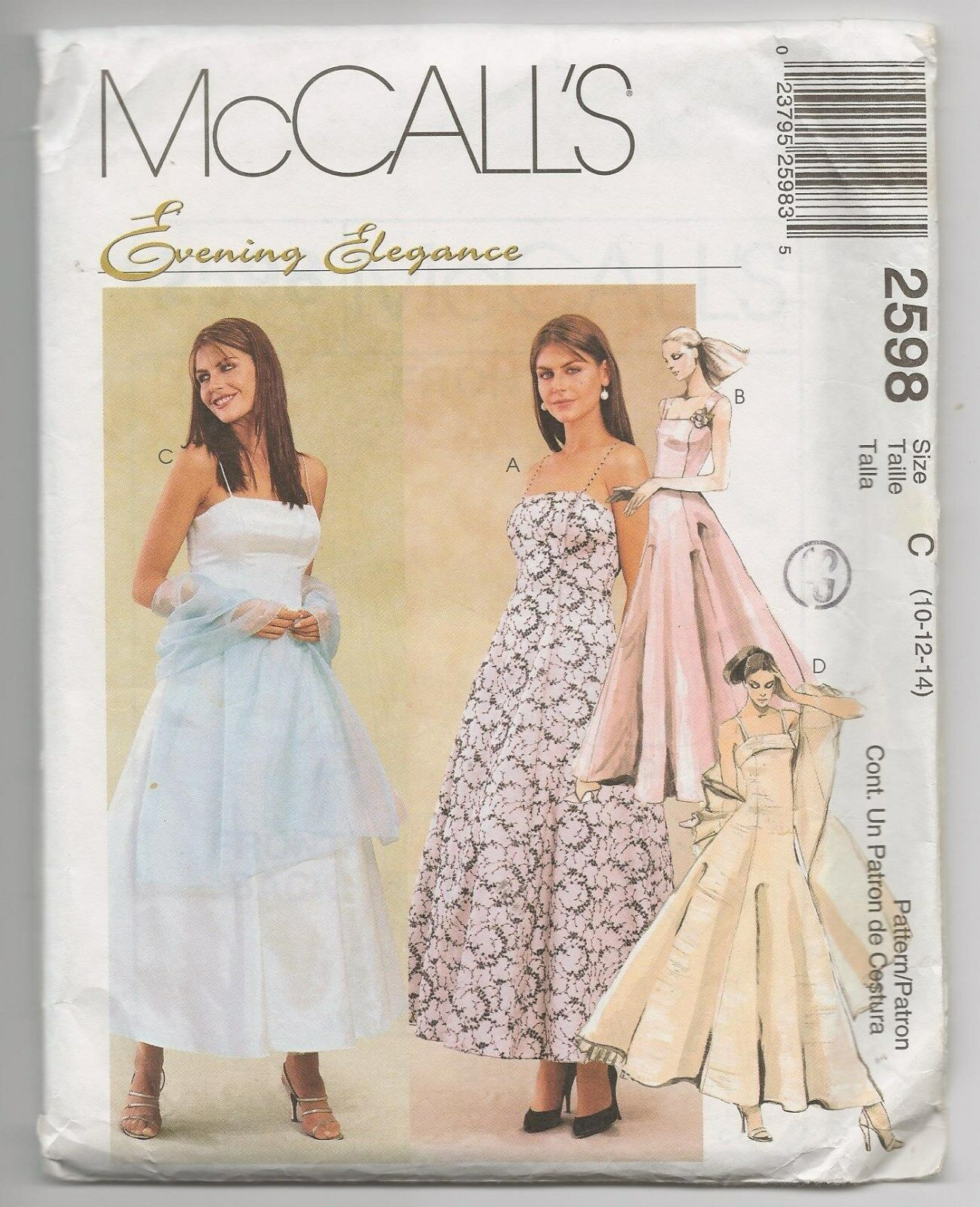 McCalls 2598 Misses Evening Prom Dress Gown Crinoline Stole Sewing ...