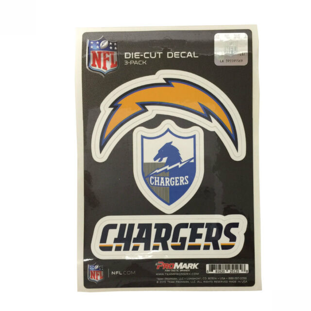 Team promark nfl san diego chargers die cut decal sticker 3 pack made in