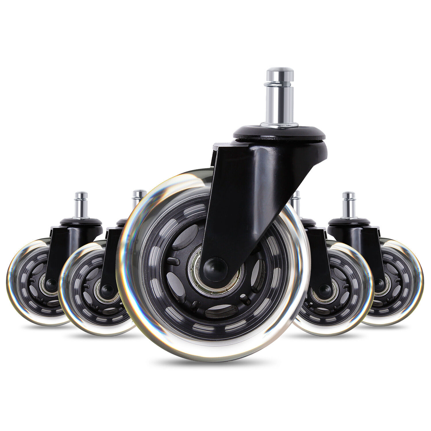 5x3inch Heavy Duty Office Chair Caster Wheels Swivel Rubber Wood Floor  Furniture - Furniture Casters EBay