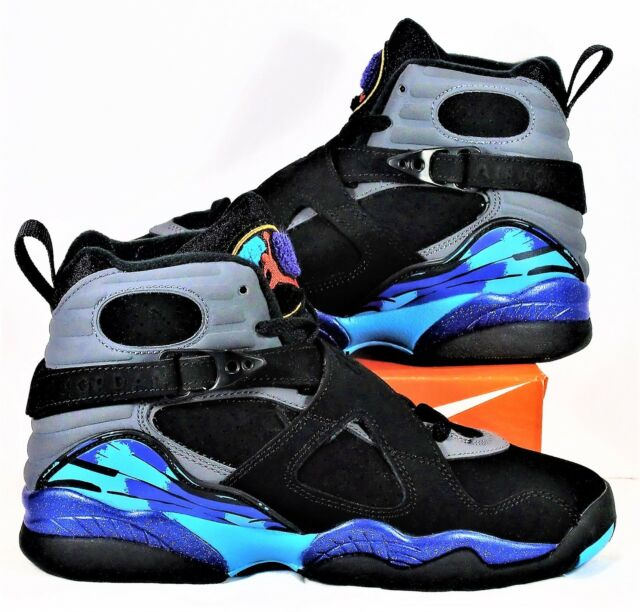 Nike Air Jordan Retro 8 VIII BG GS Black & Concord & Aqua Sz 5Y NEW