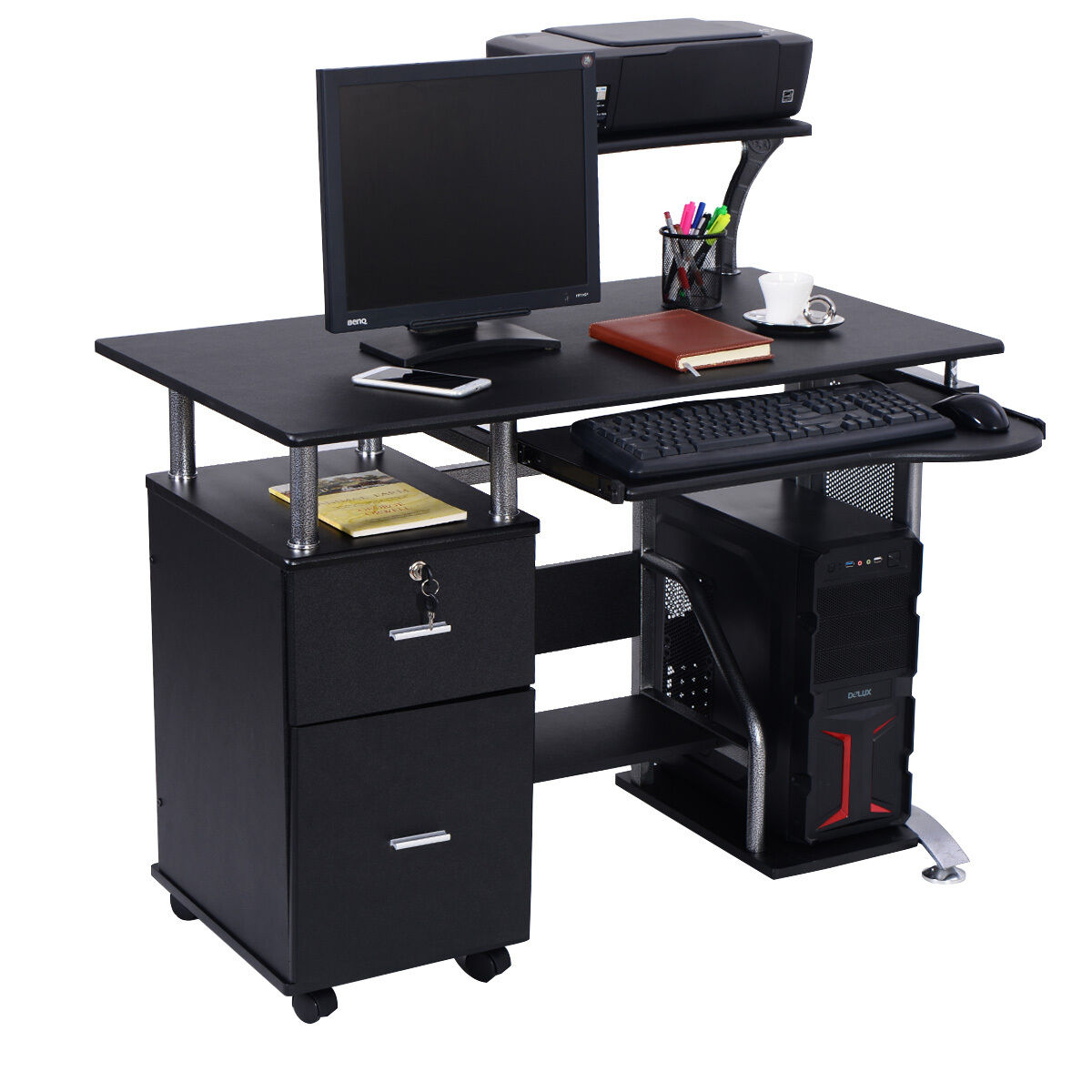 small tables for office. Computer Desk PC Laptop Table WorkStation Home Office Furniture W/ Printer Shelf Small Tables For O