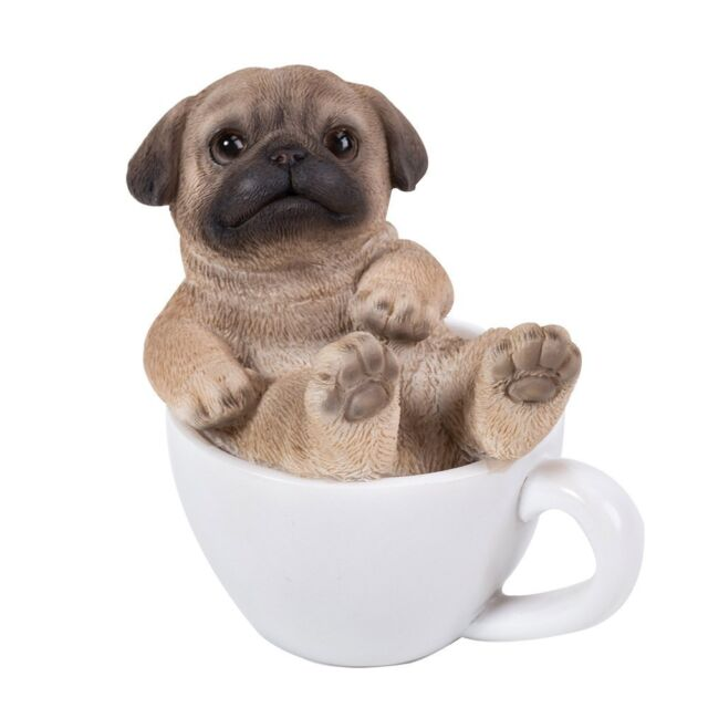 Cute Pug Puppy Dog Teacup Pet PAL Mini Figurine Statue | eBay