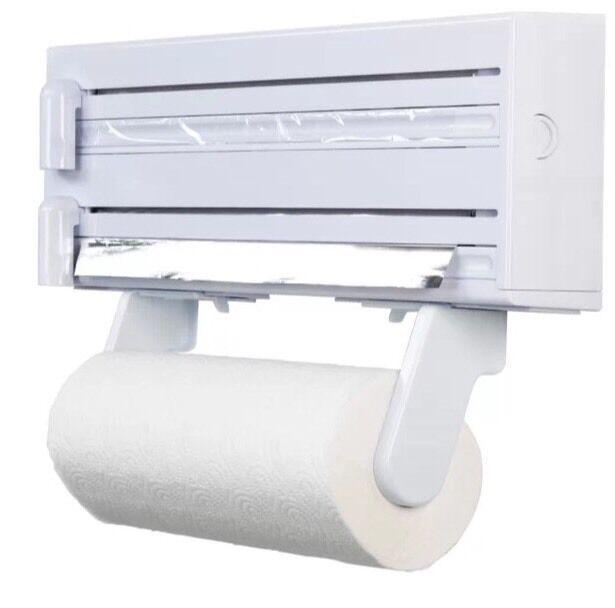 KitchenCraft Kitchen Roll Towel, Tin Foil U0026 Cling Film Dispenser Wall  Mounted