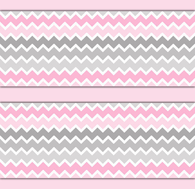 Pink grey gray ombre chevron wallpaper border wall art for Red and grey wallpaper for walls