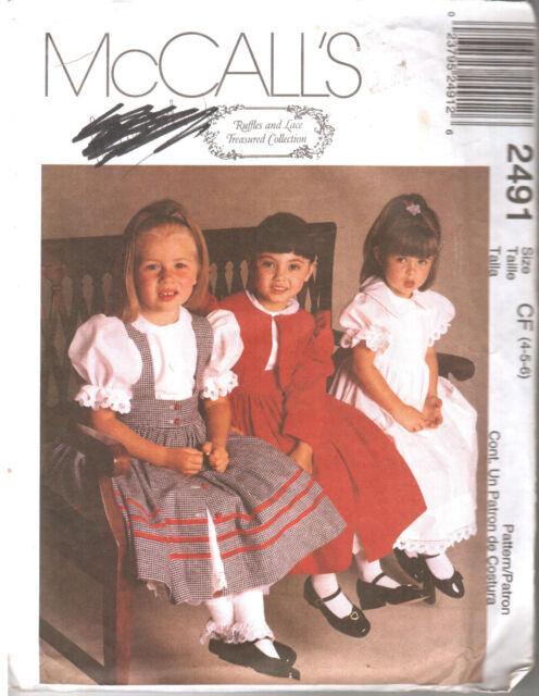 McCalls 2491 Girls Jacket Pinafore Dress Size CD 2 to 4 | eBay
