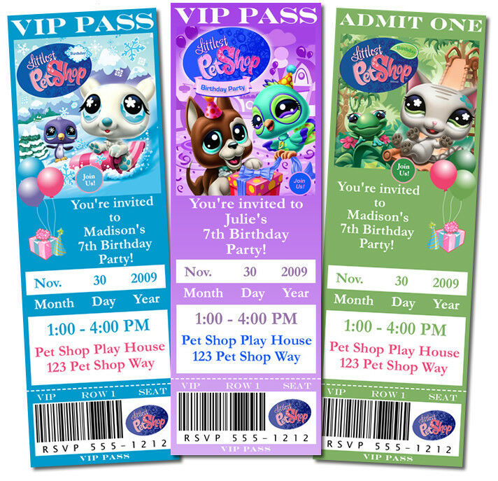 Personalized Little Pet Shop Birthday Tickets or 4x6 Invitations ...