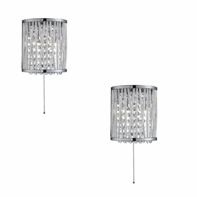 PAIR Searchlight 7222-2cc ELISE 2 Light Chrome & Crystal Drops Wall Light