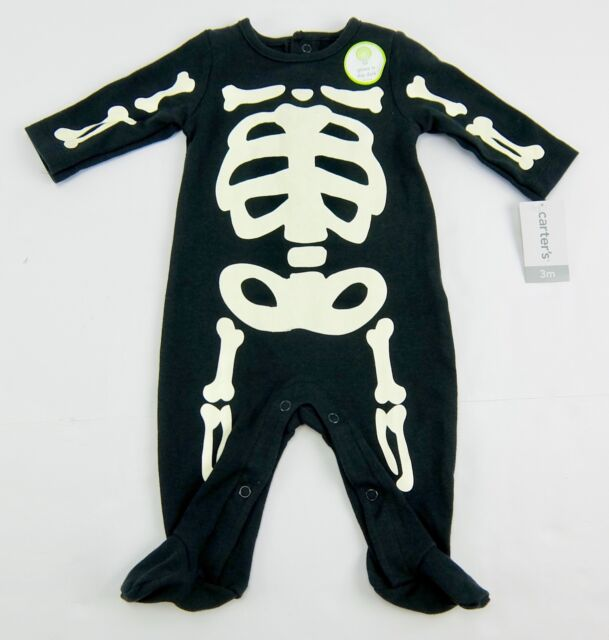 carters onepiece black footed glow in the dark skeleton halloween pjs 3 month