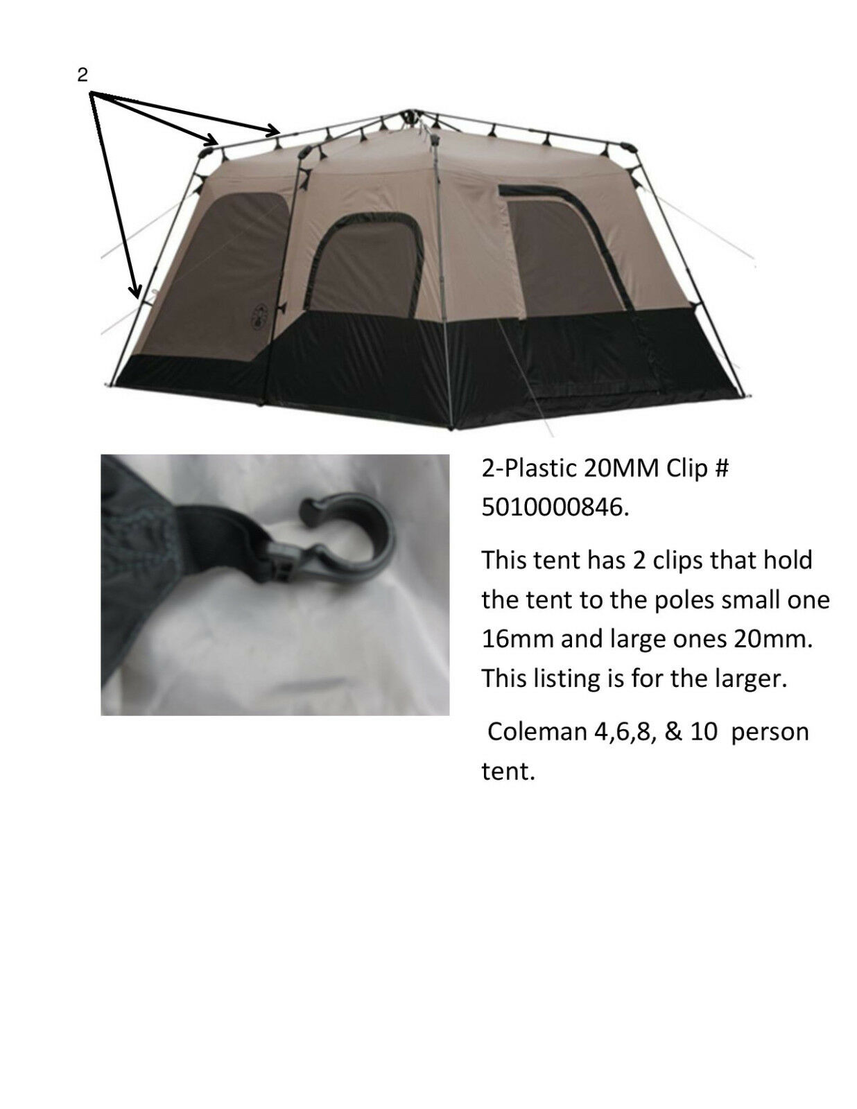 Picture 1 of 1  sc 1 st  eBay & Coleman Instant Tent 8 Person Tent Parts 20mm Clip # 5010000846 | eBay