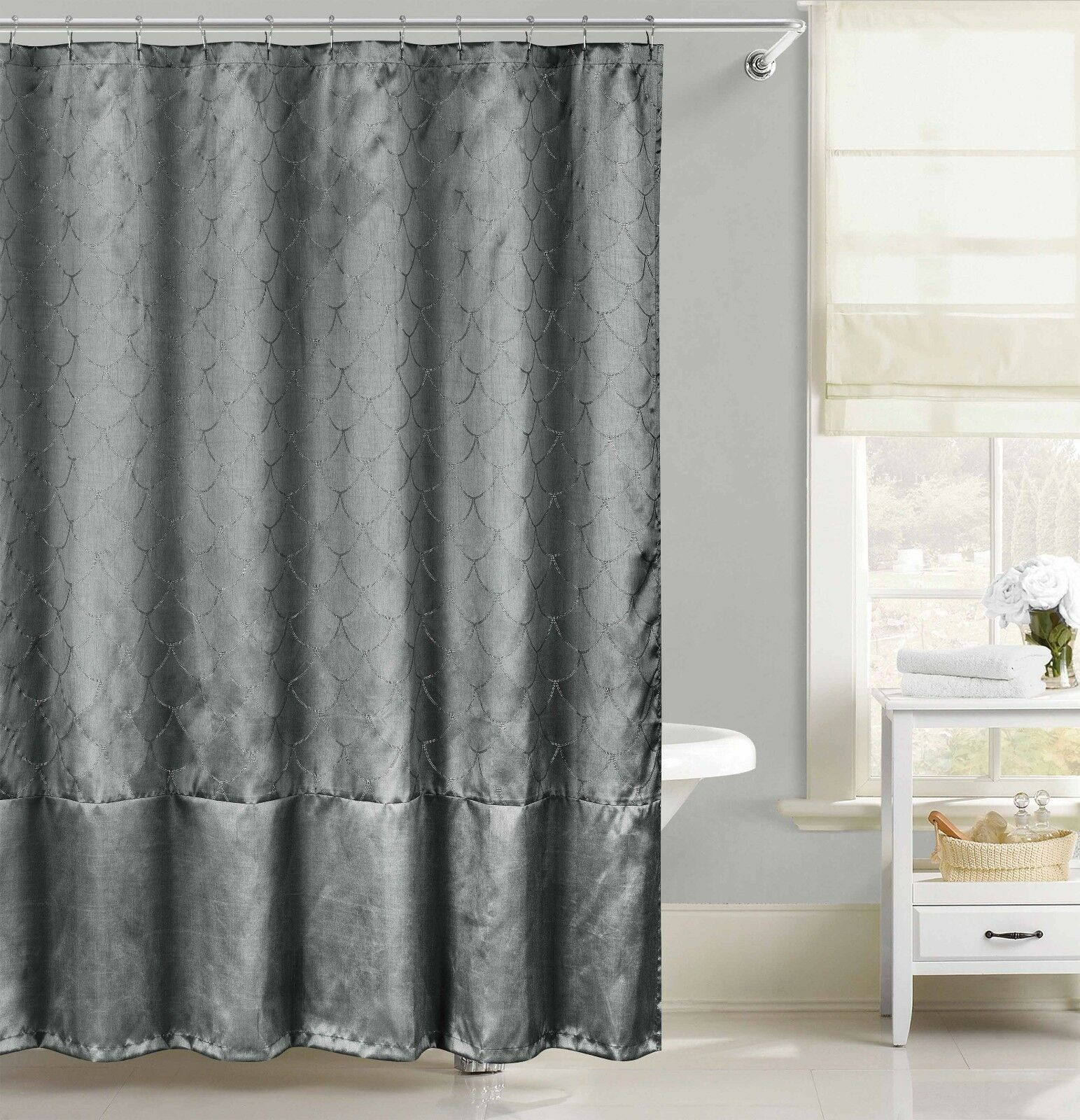 Faux Silk Fabric Shower Curtain Metallic Raised Pin Dot Fishscale ...